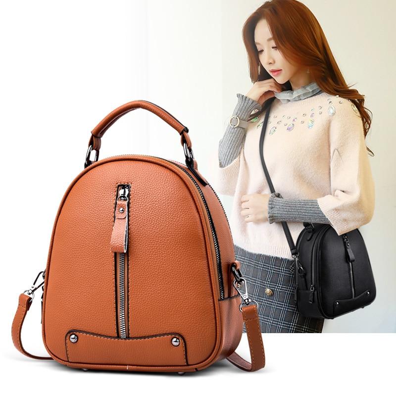 Fashion Women Backpack PU Leather School Bags For Teenagers Girl's Travel Shoulder Bag Designer High Quality Brand Backpacks