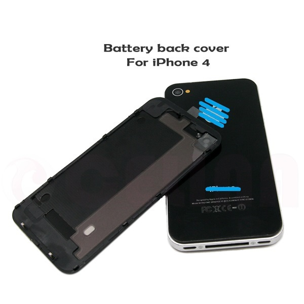 Black Glass Battery Door Housing Back Cover W/ Frame Replacement For iPhone 4 ,Free Shipping+Tracking