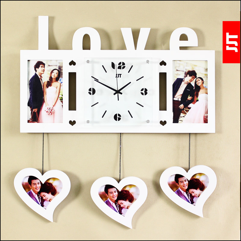 Luminousness large love wooden photo frame wall clock - Home design app used on love it or list it ...