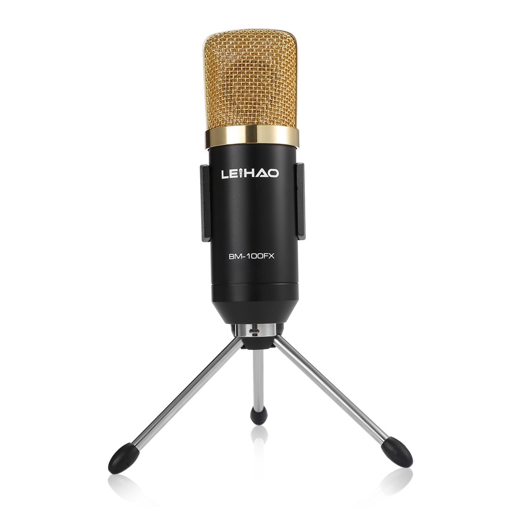 New Version LEIHAO Wired MK F100TL USB Condenser Sound Recording Microphone with Stand for Radio Braodcasting Chatting Singing