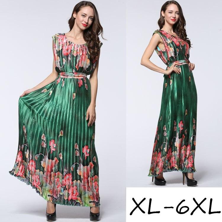 2016 été longue impression robe bohème plissé élégant robe de grande taille 6XL 5XL floral imprimé sans manches slim robes