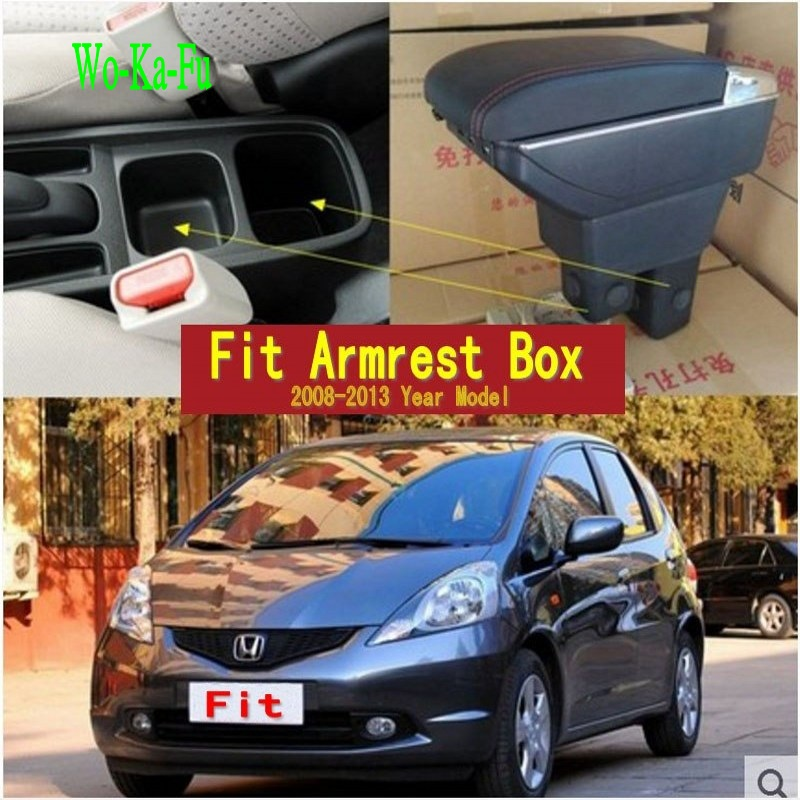 For Honda Fit Jazz 2nd generation armrest box central Store content Storage box with cup holder ashtray USB interface 2008-2013 free shipping car armrest central store content storage box with usb for honda fit 2002 2010 2016 2017 2015 2014 2013 2012 2011