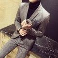 A Cuadros moda hombres Traje chaqueta Más El tamaño del partido del vestido de boda de la Alta Calidad masculina casual de negocios Traje engrosamiento abrigos S ~ 4XL TZ06