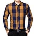 Otoño Del resorte Nuevos Hombres 100% Camisas de Algodón A Cuadros de Los Hombres de Manga Larga Camisas de Negocios Camisa Ocasional Da Vuelta-abajo Delgado Camisa de cuello MCL044