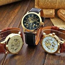 Mens Roman Numerals Stainless Steel Mechanical Skeleton Hollow Sport Wrist Watch C2K5W