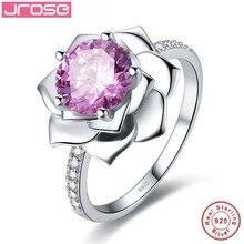 Jrose роскошный цветочный дизайн 2.85CT розовый cz кольцо 100% стерлингового серебра 925 пробы украшения для женщин обручальное украшений элегантная подарочная коробка