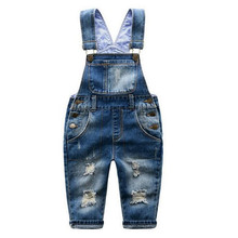 Hot Sale2016  Baby Boys Girls Spring&Autumn Solid Denim Jumpsuits Cute Kids Hemming Overalls Children Brand Jeans Pants Infantil