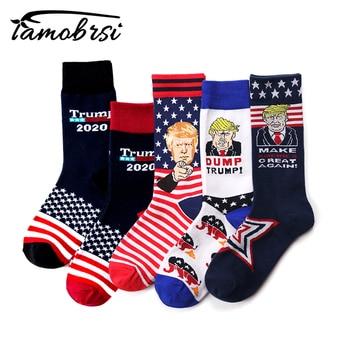 Creative Donald Trump Make America Great Again National Flag Stars Stripes Socks Funny Women Casual Men Short Happy Cotton Socks multi style women men donald trump republican hat make america great again hat cap digital camo
