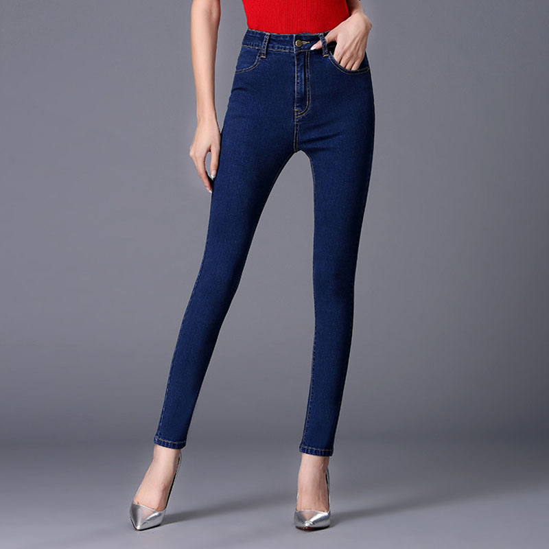 Women Jeans Large Size High Waist Spring 2017 Blue Elastic Long Skinny Slim Jeans Trousers For Women 26-40 True Denim Pants plus size pants the spring new jeans pants suspenders ladies denim trousers elastic braces bib overalls for women dungarees