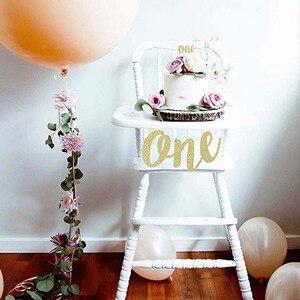 Image 2 - 골드 반짝이 프린스 공주에 대한 하나의 배너 아기 소년 소녀 첫 번째 첫 번째 생일 파티 높은 의자 장식 용품 사진 소품