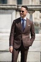 2018 פשתן בצבע חום כהה בקיץ חליפת גברים חתן Slim Fit 2 Piece טוקסידו בלייזר חליפות חתונה מותאמת אישית Masuclino Terno מעיל + מכנסיים 007