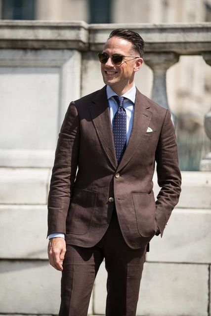 2018 Summer Dark Brown Linen Men Suit Groom Slim Fit 2