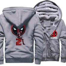 Mens Hoodies Autumn Winter Thick Coat Hooded Hoody 2018 Brand Clothing DEADPOOL Print Sweatshirts For Men Hoodie
