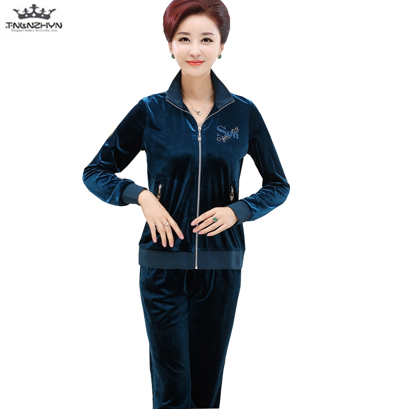 tnlnzhyn 2018 New Spring Autumn elderly Women Gold velvet Suits Casual Zipper Swearshirts and Pants Casual ladies Pans Set Y1144