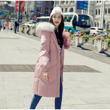 New Winter Warm Women White Duck Down Jacket Oversize Long Pink Black Coat Large Real Raccoon Fur Hooded Collar Parka 2018