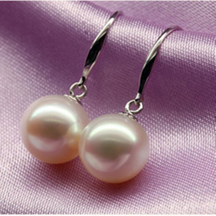 925 argento reale naturale grande Il classico d'acqua dolce naturale orecchini di perle Orecchini Gancio per L'orecchio Orecchini 925 Orecchini In Argento genuino - 4