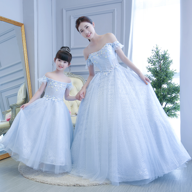 Online Mother Daughter Wedding Dresses Princess Puff Skirt Fashion Mom And Dress Clothes Show Party Evening Holiday Aliexpress