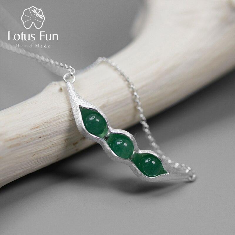 Lotus Fun 925 colliers en argent Sterling femmes naturel vert Aventurine forme de haricot Long collier avec grand pendentif