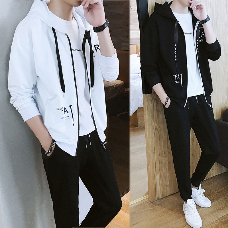 Clothes + Trousers Spring And Autumn Sanitary Clothes Men's Suit Korean Edition Slim Sportswear Youth In Autumn And Winter