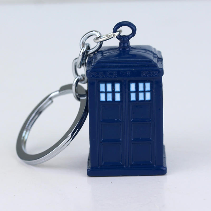 RJ Fashion Movie Hot Sell Doctor Who Keyring Dr. Mysterious Blue Color Dalek Tardis Police Box Keychain Chaveiro For Men&Women uk movie doctor who pocket watch men quartz fashion necklace dr who luxury gift box set best gift free shipping