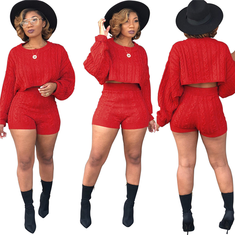 Adogirl Frauen Gestrickte Pullover Zwei Stück Set O Neck Langarm Lose Crop Top Hohe Taille Shorts Casual Herbst Winter outfits