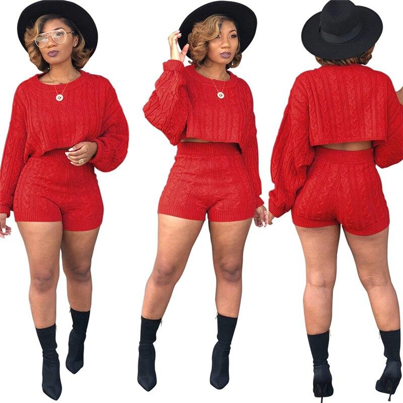 Adogirl mujeres suéteres de punto dos piezas Set O cuello manga larga suelta cosecha superior de alta cintura Shorts Casual Otoño Invierno trajes