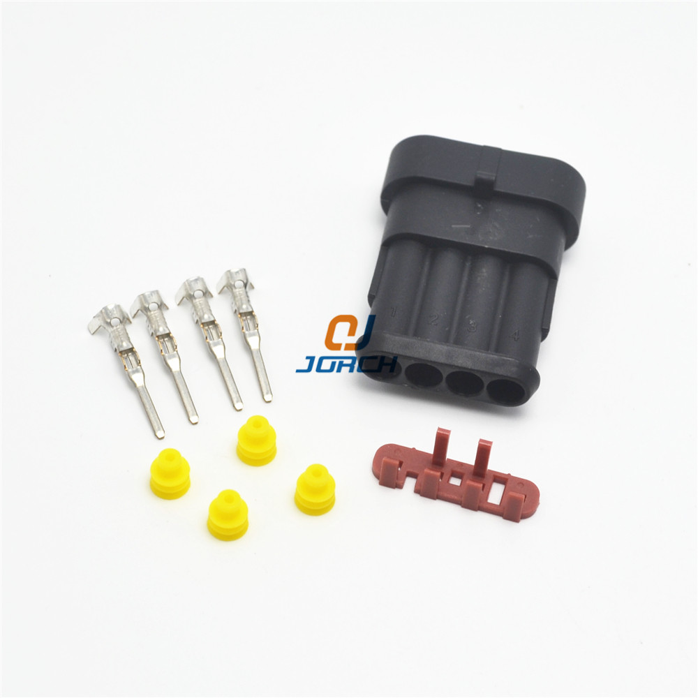 10 sets Kit 4 Pin way super seal waterproof automotive electrical connector socket for car free shipping 282106-1