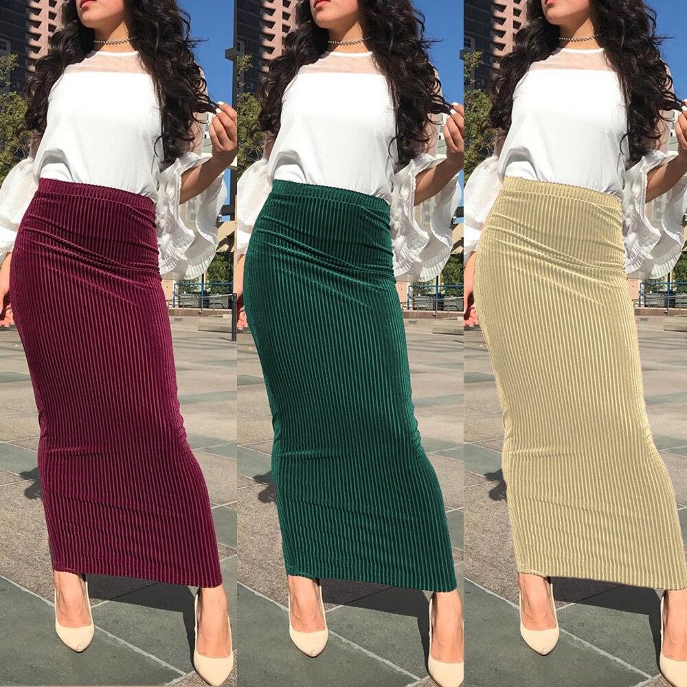 Women's Modest Velvet Skirt Muslim Elastic Bottoms Long Skirts Knitted Cotton Pencil Skirt Ramadan Party Worship Service Islamic
