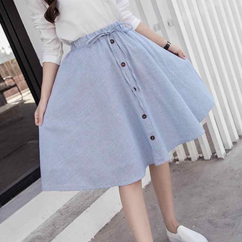 54ac6ecc4 ... Midi Skirt 2019 Summer Women Clothing High Waist Pleated A Line Skater  Vintage Casual Knee Length ...