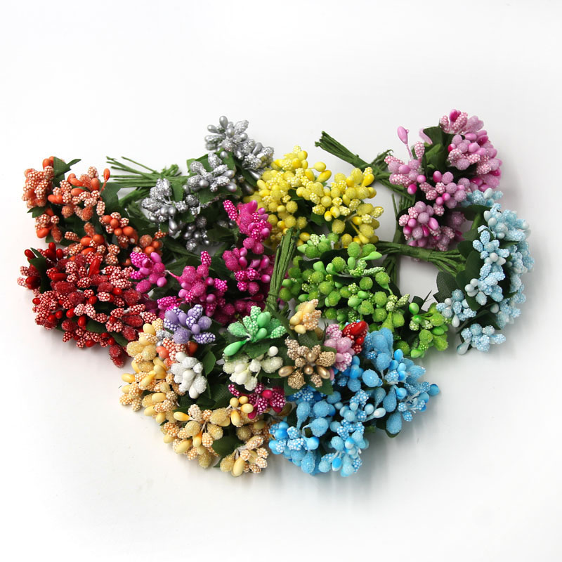 60 UNIDS Multicolor Mini Mulberry Alambre Tallo Hojas Estambre Estambre Flor Art