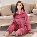 2016 Nova Outono/inverno pijamas de flanela espessamento das mulheres define sleepwear doce fêmea Roupa Interior Casa Terno frete grátis