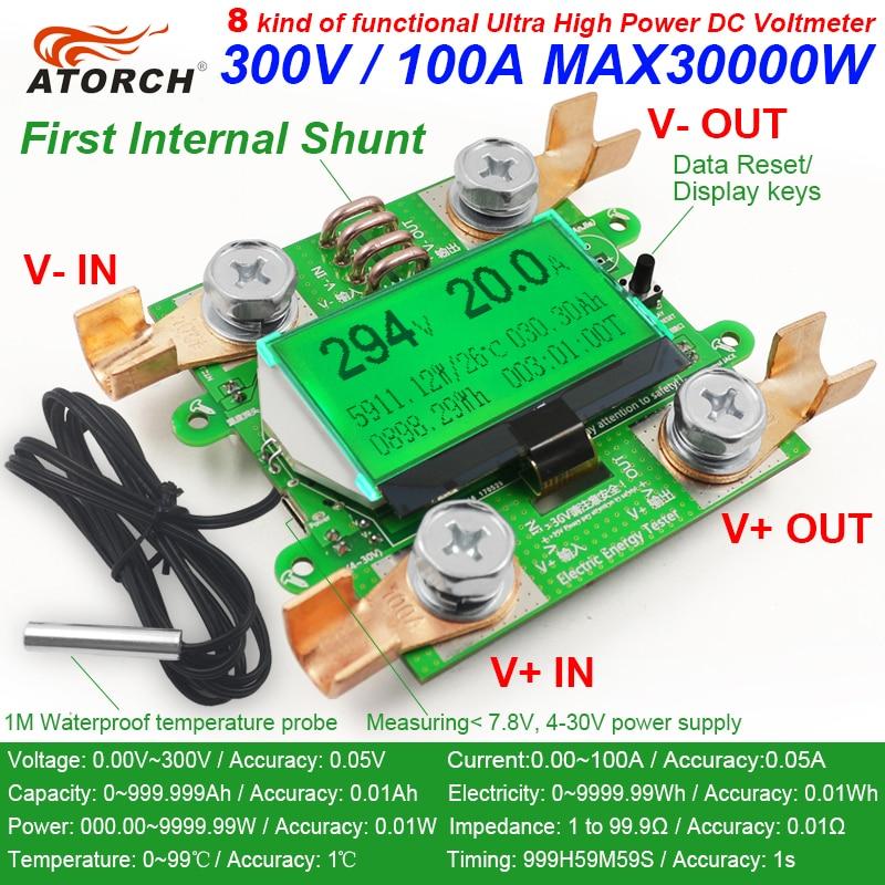 ATORCH Tiksli energijos skaitiklio įtampa Srovės galia DC 300 V / 100 A voltmetras Ampermetras Greem Apšvietimo perkrovos aliarmo funkcija patalpoje