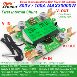 ATORCH Accurate Energy Meter Voltage Current Power DC 300V/100A Voltmeter Ammeter Greem Backlight Overload Alarm Function indoor