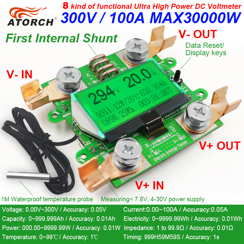 ATORCH Accurate Energy Meter Voltage Current Power DC 300V/100A Voltmeter Ammeter Greem Backlight Overload Alarm Function indoor