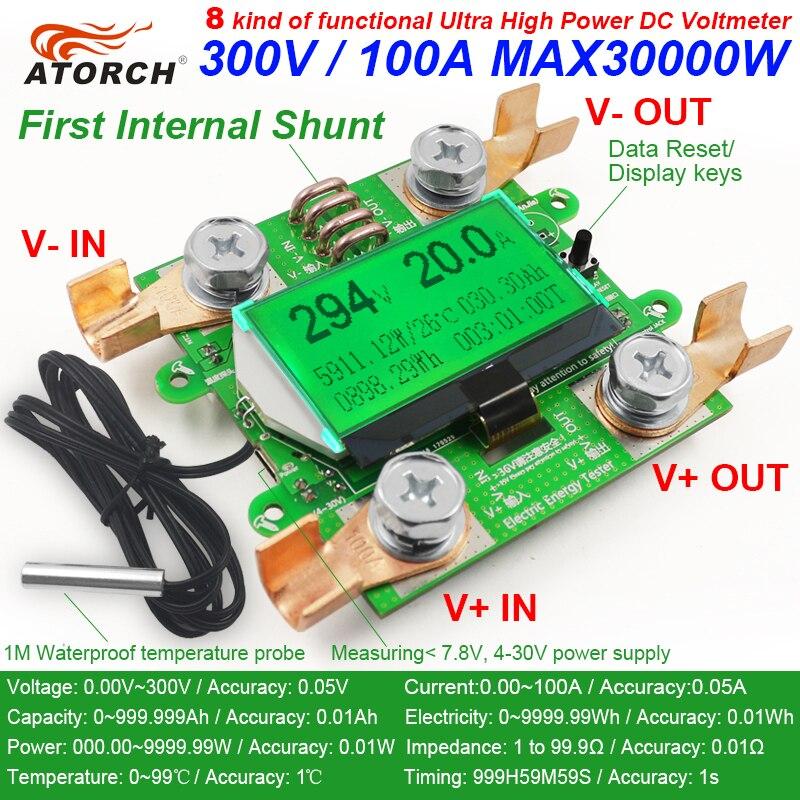 ATORCH preciso medidor de energía de corriente de voltaje de DC 300 V/100A amperímetro del voltímetro verde Fondo sobrecarga función de alarma interior