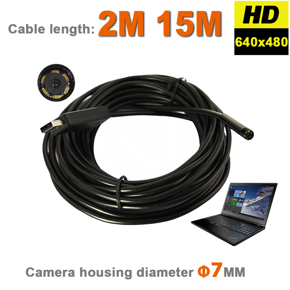 6 LEDs 7mm IP67 Waterproof Inspection Borescope Snake Tube USB Camera USB Endoscope MINI Video Camera With 2M Flexible Cable supereyes 3 5 monitor waterproof borescope videoscope 9mm diameter 800mm snake tube endoscope camera with led inspection n012j