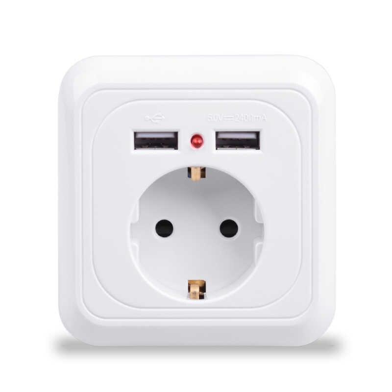 Sprzedaż hurtowa inteligentnego domu najlepszy podwójny Port USB 2400mA ładowarka ścienna Adapter 16A ue standardowa wtyczka elektryczna oprawa gniazdka elektrycznego Panel