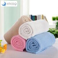 HTEXQ Blanket Knitted Blanket for Kids Girl Boy Soft Warm Child Cozy Coral Toddler Infant Newborn Receiving Blanket for Crib