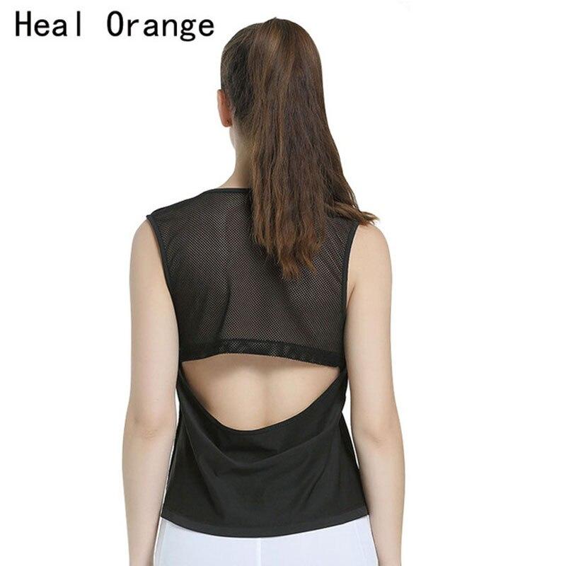 HEAL ORANGE Women Running Vest Loose Tops Sleeveless Back Hollow Yoga Tanks Undershirt Sport Blouse T-Shirts For Women Fitness
