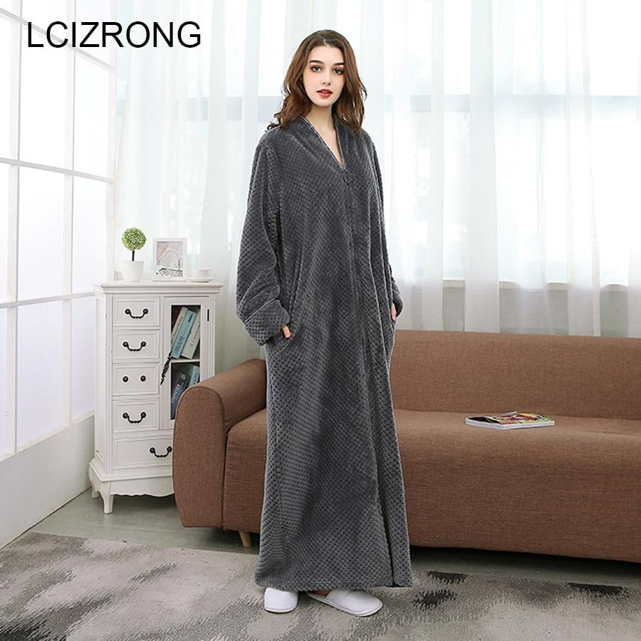 Winter Warm Thick Couple Bathrobe Women/Men Long Sleeve Zipper Split Sexy Bath Robe Plus Size Dressing Gown Unisex Robes