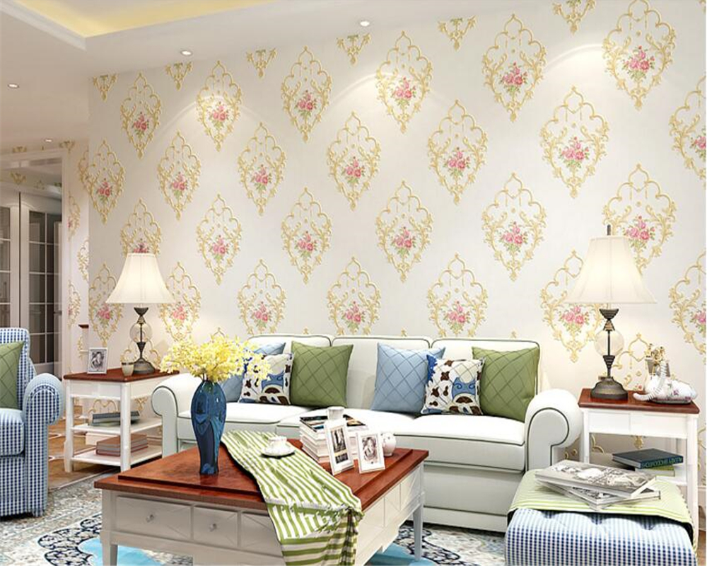 beibehang European personality pastoral style wall paper bedroom three-dimensional nonwoven 3d wallpaper television background beibehang european personality pastoral