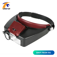 New 10X Headband Magnifier Glasses Helmet Style Loupe Lens LED Lights Loupe Microscope For Repairing Watch Jewelry Reading