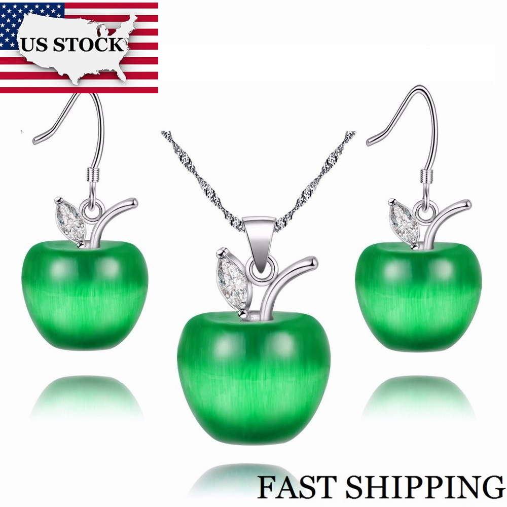 US STOCK 50% off Kids Jewelry Set Brincos Silver Earrings Pendant Necklace Pink Crystal Jewelry Sets Fashion Jewellery Uloveido