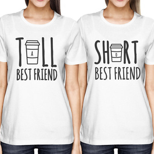 Cute Best Friend Shirt Tall and Short Matching T-Shirt BFF T Shirt Women For Coffee Tee Shirt Femme Sisters T-Shirt Female