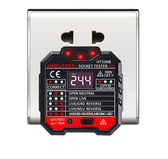 <font><b>HT106B</b></font> HT106D HT106E Digital display socket tester plug polarity phase check detector Voltage test multi-function electroscope image