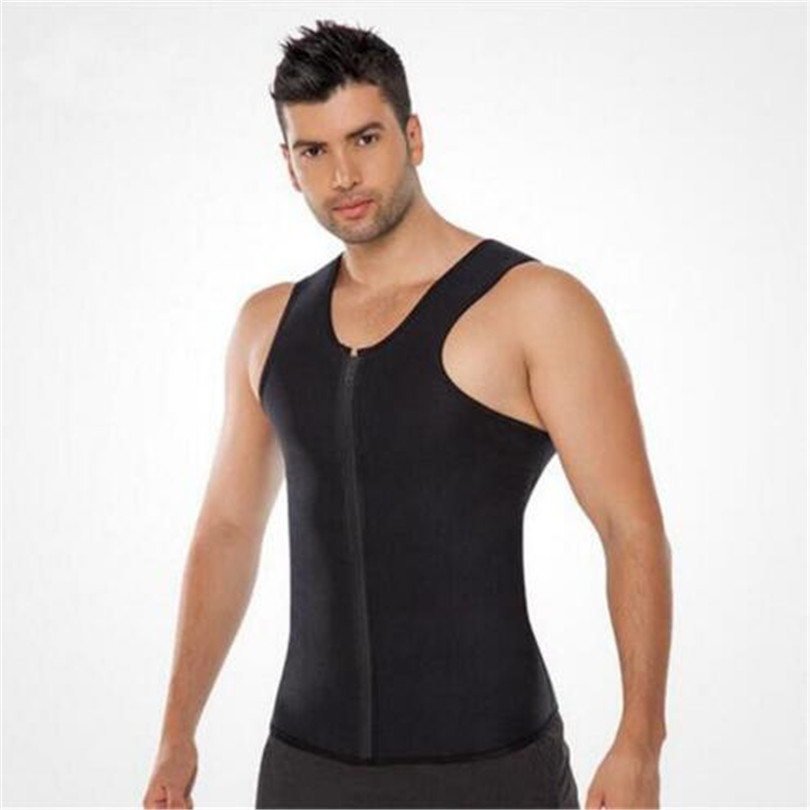2018 Men <font><b>T</b></font>-<font><b>Shirt</b></font> Waist Trainer Body Shapers Weight-Loss Hot Shapers <font><b>Neoprene</b></font> Workout Slimming Belly Body Shapers Fat Burning image