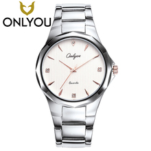 ONLYOU Hot 2017 Fashion Brand Watches For Women Men Steel Thin Quartz Men Clock Watch Lovers Ladies Gift  Wholesale