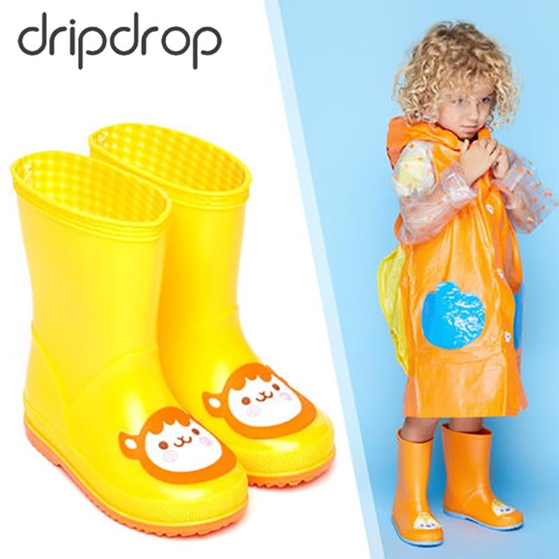 DRIPDROP Rubber Rain Boots For Children Waterproof Mid
