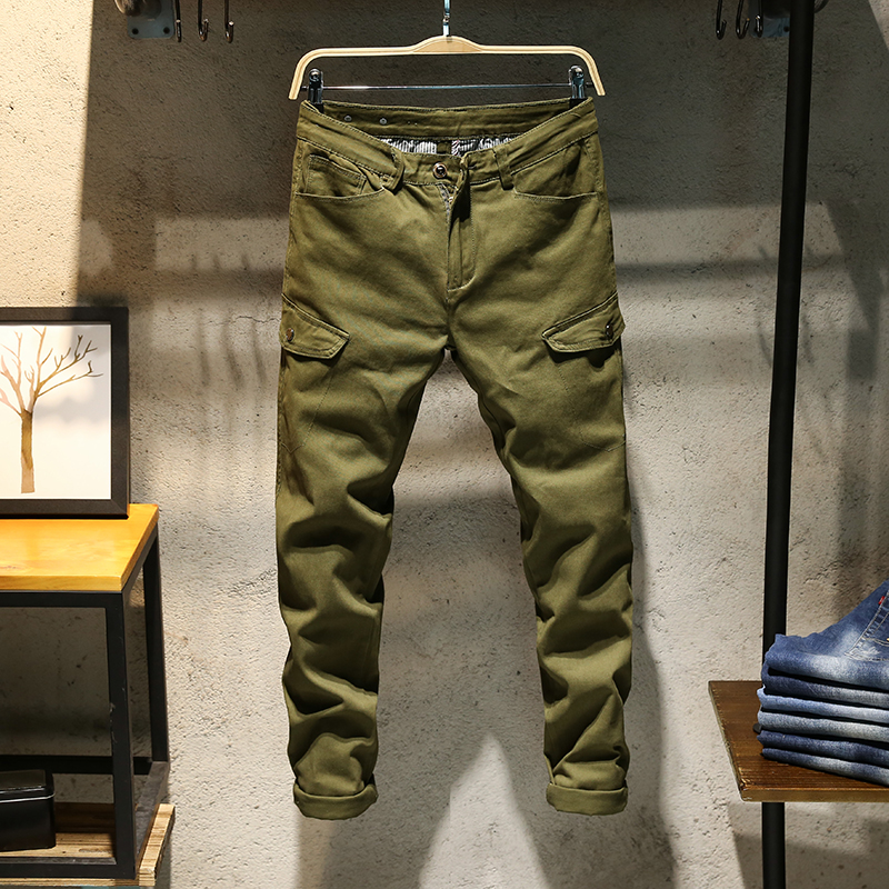 ClassDim Men's Elastic Skinny Denim  Jeans Good Quality Cotton Army Green Long Jeans New Fashion Men Slim Solid Casual Jeans