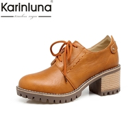 KARINLUNA 2017 Retro Big Size 31 43 Platform Lace Up Woman Shoes Women British Style Square